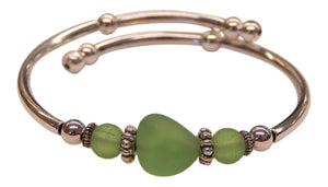 """Peridot"" Seaglass Single, Wrap-Around Embracelet"