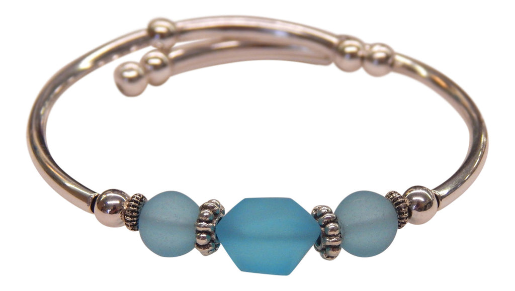 """Aqua"" Seaglass Single, Wrap-Around Embracelet"