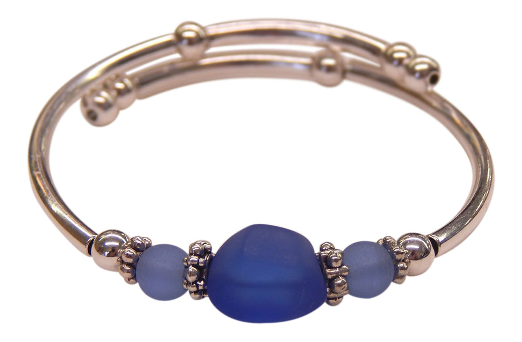 """Sapphire"" Seaglass Single, Wrap-Around Embracelet"