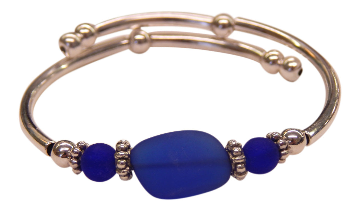 """Cobalt"" Seaglass Single, Wrap-Around Embracelet"