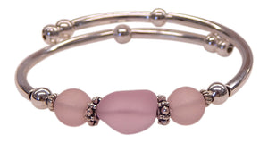 """Pink"" Seaglass Single, Wrap-Around Embracelet"