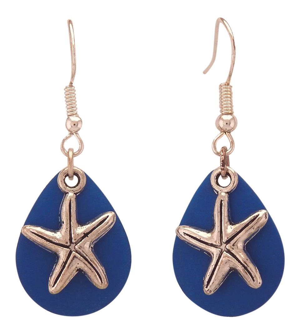 Fishing Lure Drop Style Earrings, 2-pc., Silver Tone Starfish, Ocean Blue Lure Backing