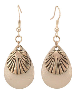 Fishing Lure Drop Style Earrings, 2 pc., Silver Tone Scallop Shell, White Sparkle Lure Backing