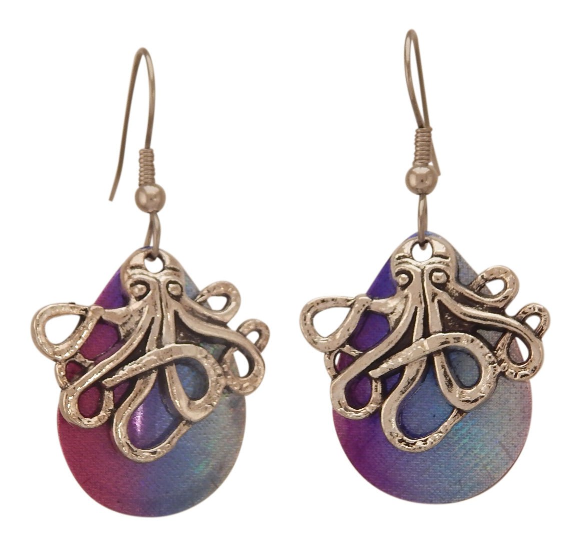Fishing Lure Drop Style Earrings, 2 pc., Silver Tone Octopus, Blue/Pink Iridescent Backing Lure