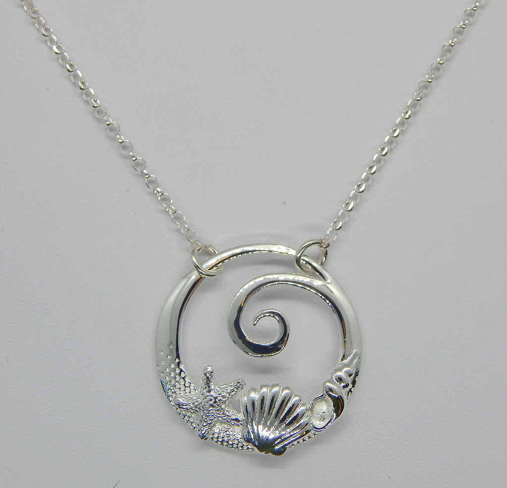 Sterling Silver Wave/Shell Necklace<br>by Fishgirl Designs