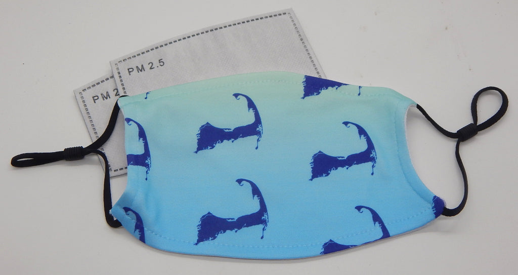 Map of Cape Cod, Ocean Gradient Colors<br>Printed Filter Mask<br>One Size, Adjustable
