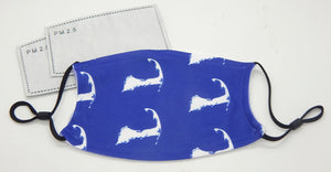 Map of Cape Cod, Blue<br>Printed Filter Mask<br>One Size, Adjustable