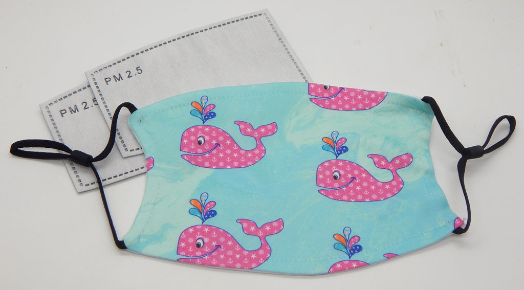 Happy Whales<br>Printed Filter Mask<br>One Size, Adjustable