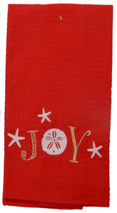 """Joy"" Sand Dollar<br>Holiday Linen Towels<br>by KayDee"