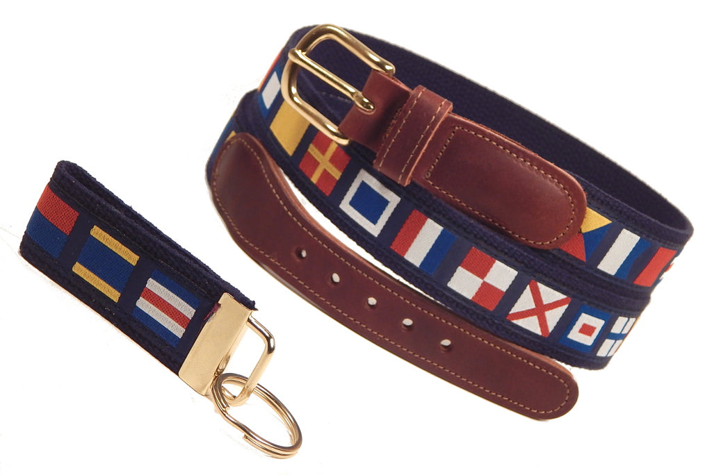 "Preston Leather ""Nautical Code Flag"" Belt, Navy Web, FREE Matching Key Ring"