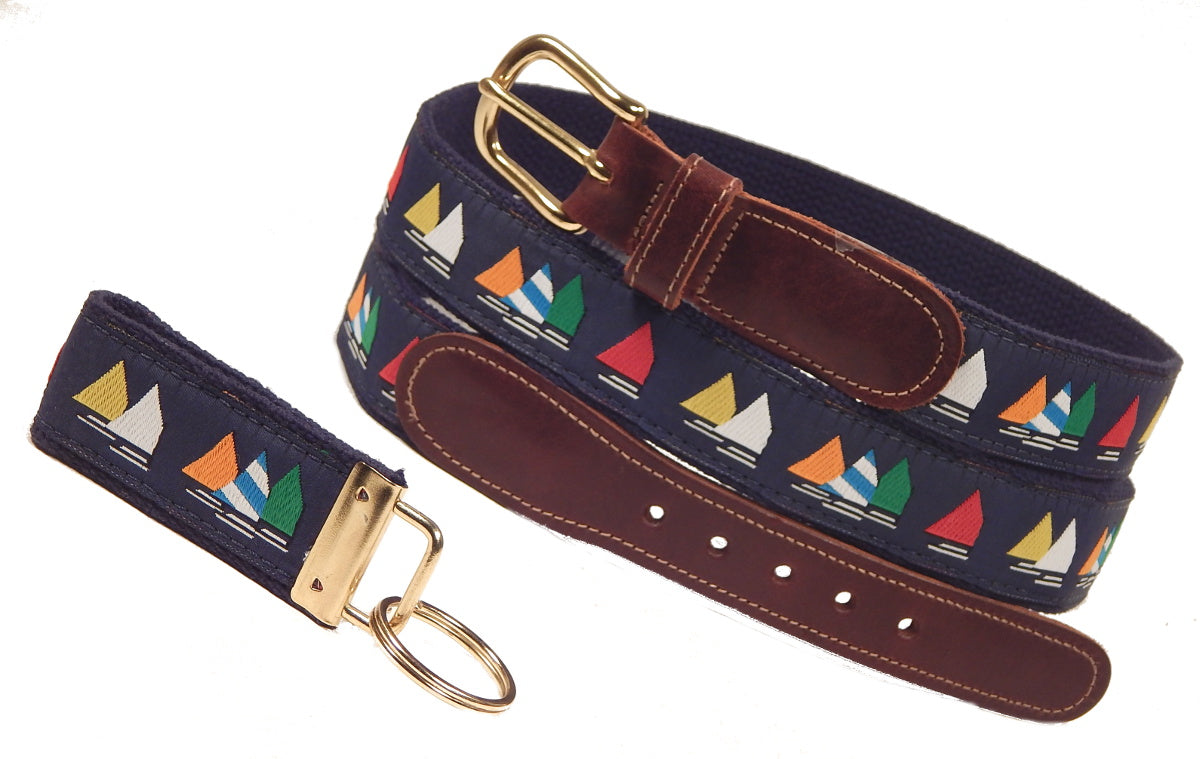 "Preston Leather ""Rainbow Fleet on Navy,"" Navy Web, FREE Matching Key Ring"