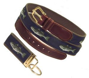 "Preston Leather ""Striped Bass on Navy,"" Olive Web, FREE Matching Key Ring"