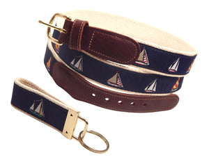 "Preston Leather ""Four Sailboats"" Belt, Natural Web, FREE Matching Key Ring"