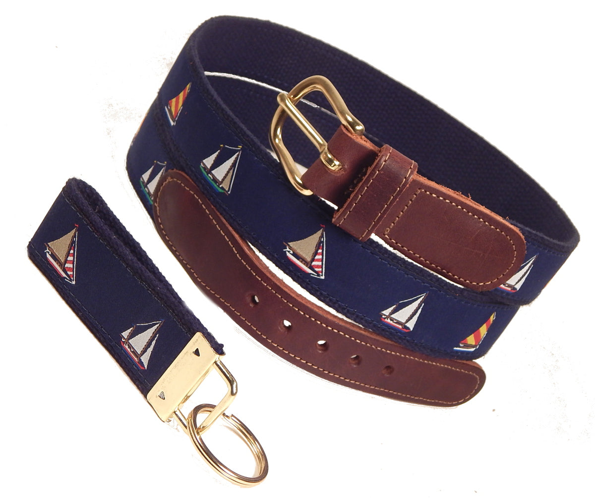 "Preston Leather ""Four Sailboats"" Belt, Navy Web, FREE Matching Key Ring"