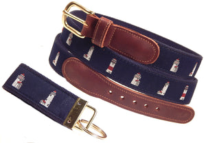 "Preston Leather ""Nantucket Lighthouses"" Belt, Navy Web, FREE Matching Key Ring"