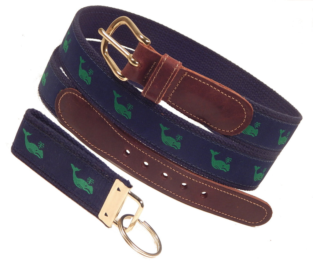 "Preston Leather ""Green Whale"" Belt, Navy Web, FREE Matching Key Ring"
