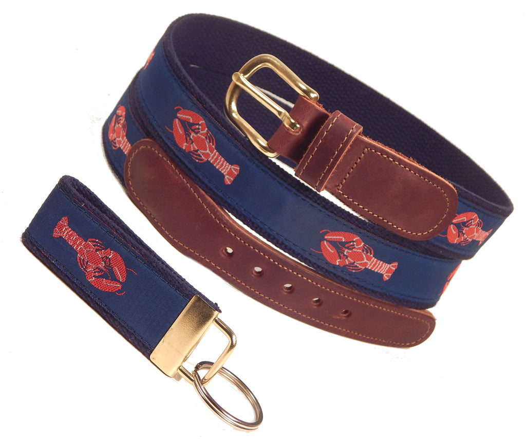 "Preston Leather ""Red Lobster"" Belt, Navy Web, FREE Matching Key Ring"