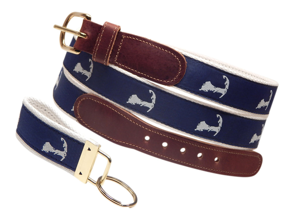 "Preston Leather ""Map of Cape Cod"" Belt, White Web, FREE Matching Key Ring"