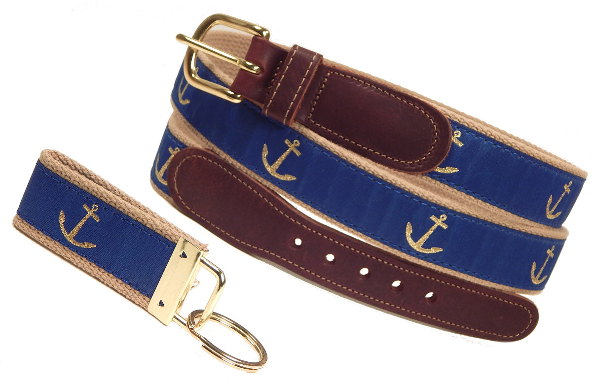 "Preston Leather ""Glittery Gold Anchor"" Belt, Khaki Web, FREE Matching Key Ring"