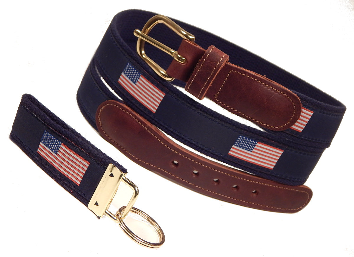 "Preston Leather ""American Flag"" Belt, Navy Web, FREE Matching Key Ring"