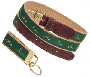 "Preston Leather ""Golf Clubs/18th Hole"" Belt, Khaki Web, FREE Matching Key Ring"