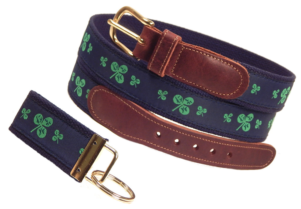 "Preston Leather ""Shamrocks On Navy"" Belt, Navy Web, FREE Matching Key Ring"
