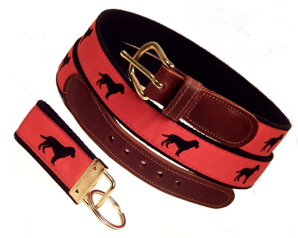 "Preston Leather ""Black Dog"" Belt, Black Web, FREE Matching Key Ring"