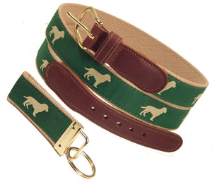 "Preston Leather ""Yellow Dog"" Belt, Khaki Web, FREE Matching Key Ring"