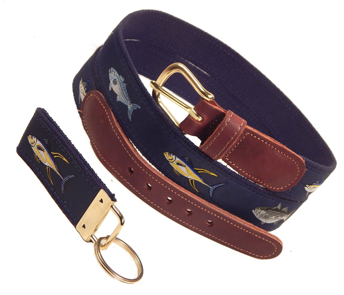 "Preston Leather ""Four Fish"" Belt, Navy Web, FREE Matching Key Ring"