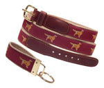 "Preston Leather ""Golden Retriever"" Belt, Khaki Web, FREE Matching Key Ring"
