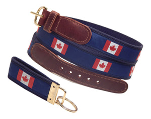 "Preston Leather ""Canadian Flag"" Belt, Navy Web, FREE Matching Key Ring"