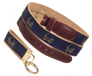 "Preston Leather ""Maryland Blue Crab"" Belt, Khaki Web, FREE Matching Key Ring"