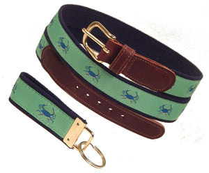 "Preston Leather ""Blue Crab on Green"" Belt, Navy Web, FREE Matching Key Ring"