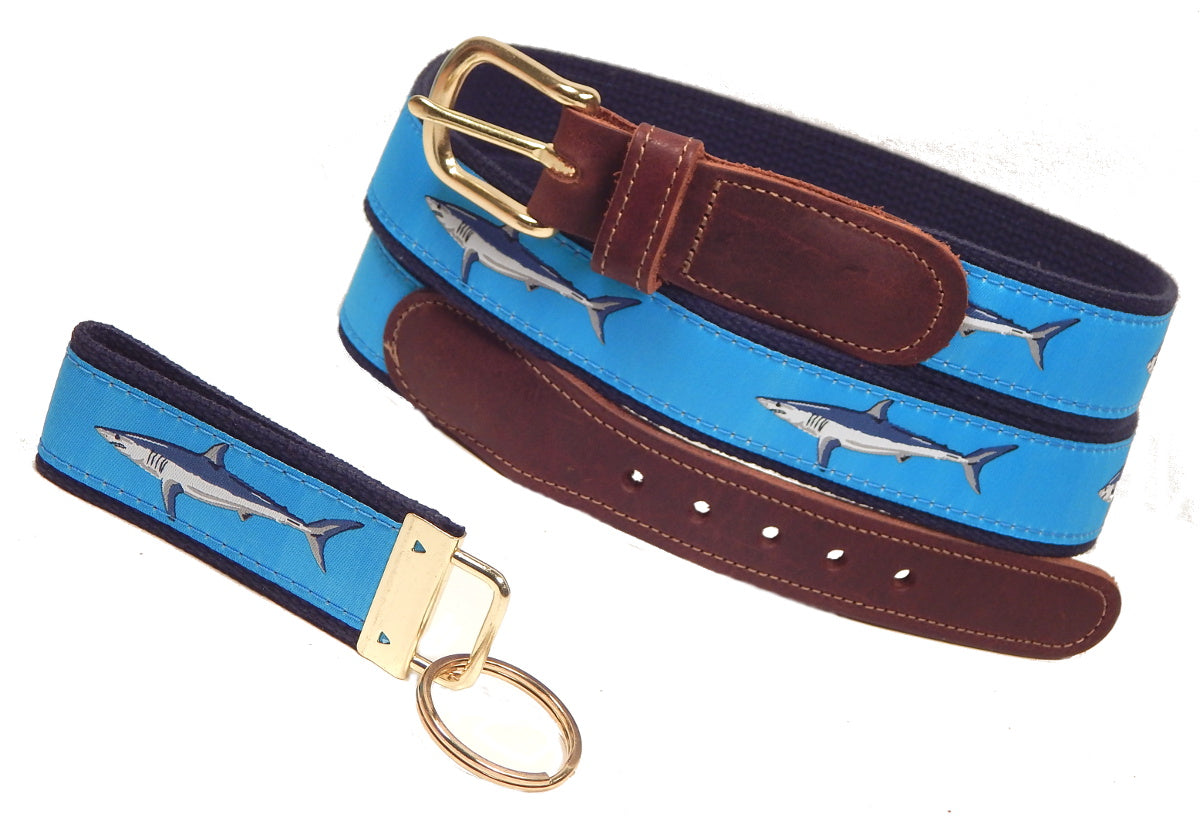 "Preston Leather ""Mako Shark on Light Blue"" Belt, FREE Matching Key Ring"
