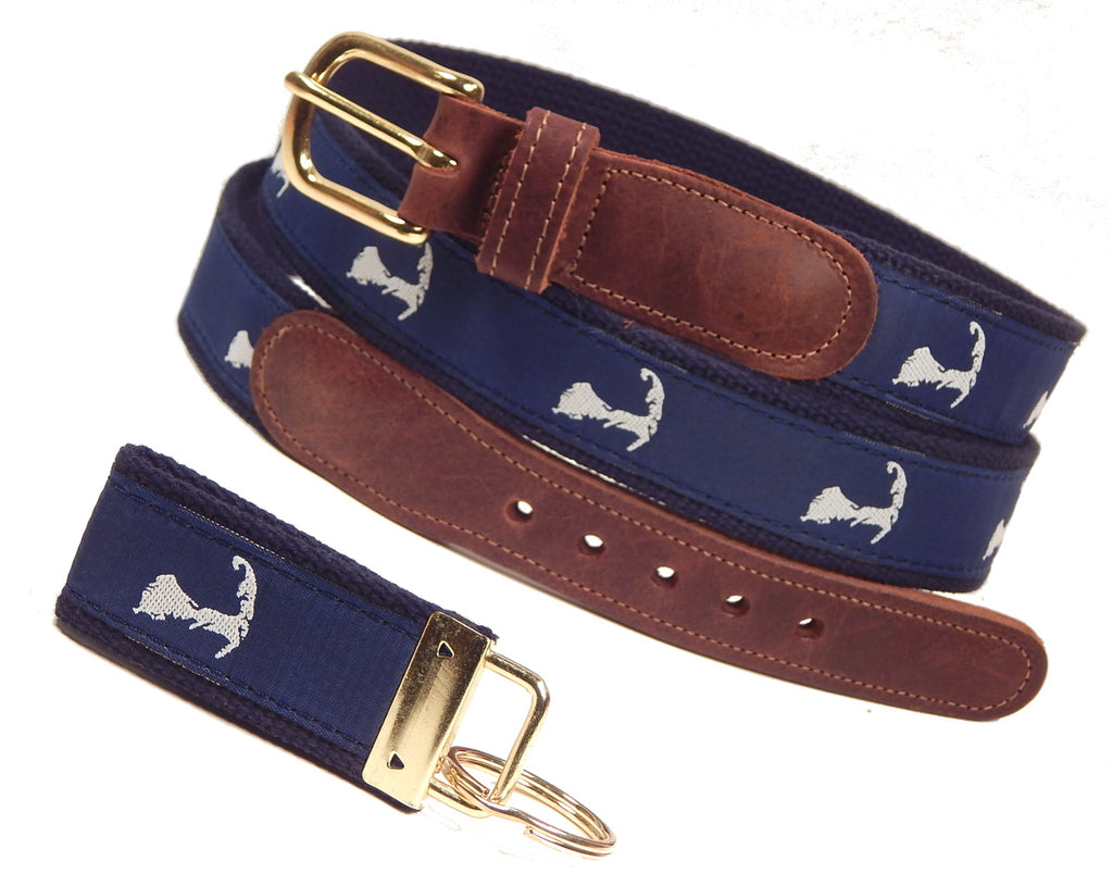 "Preston Leather ""Map of Cape Cod"" Belt, Navy Web, FREE Matching Key Ring"