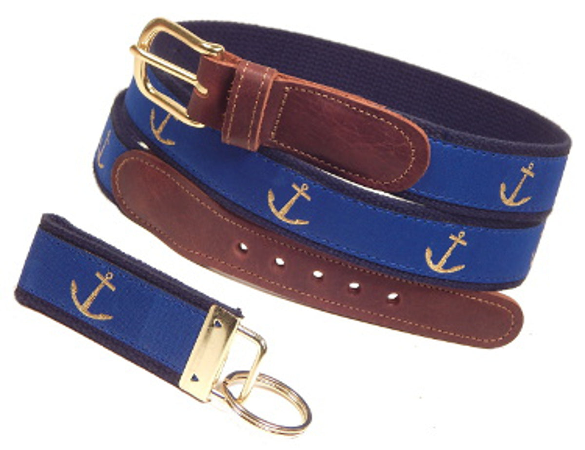 "Preston Leather ""Glittery Gold Anchor"" Belt, Navy Web, FREE Matching Key Ring"