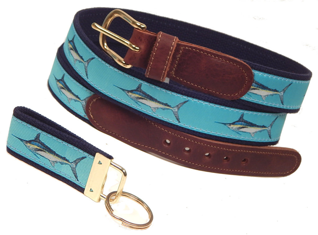 "Preston Leather ""Marlin"" Belt, Navy Web, FREE Matching Key Ring"
