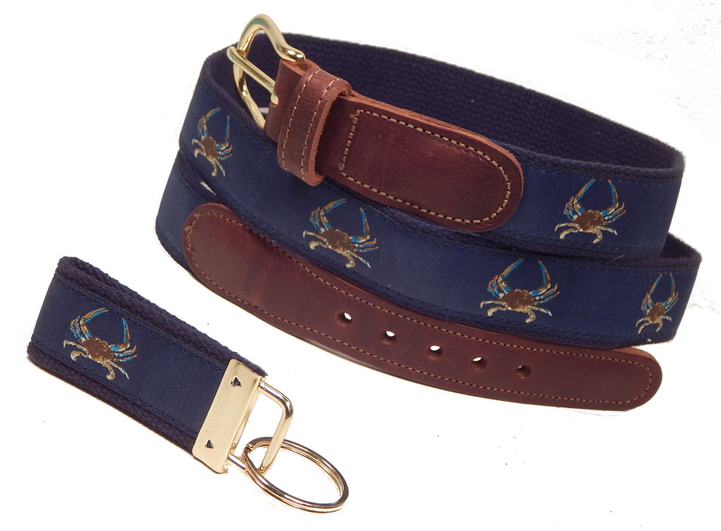 "Preston Leather ""Maryland Blue Crab"" Belt, Navy Web, FREE Matching Key Ring"