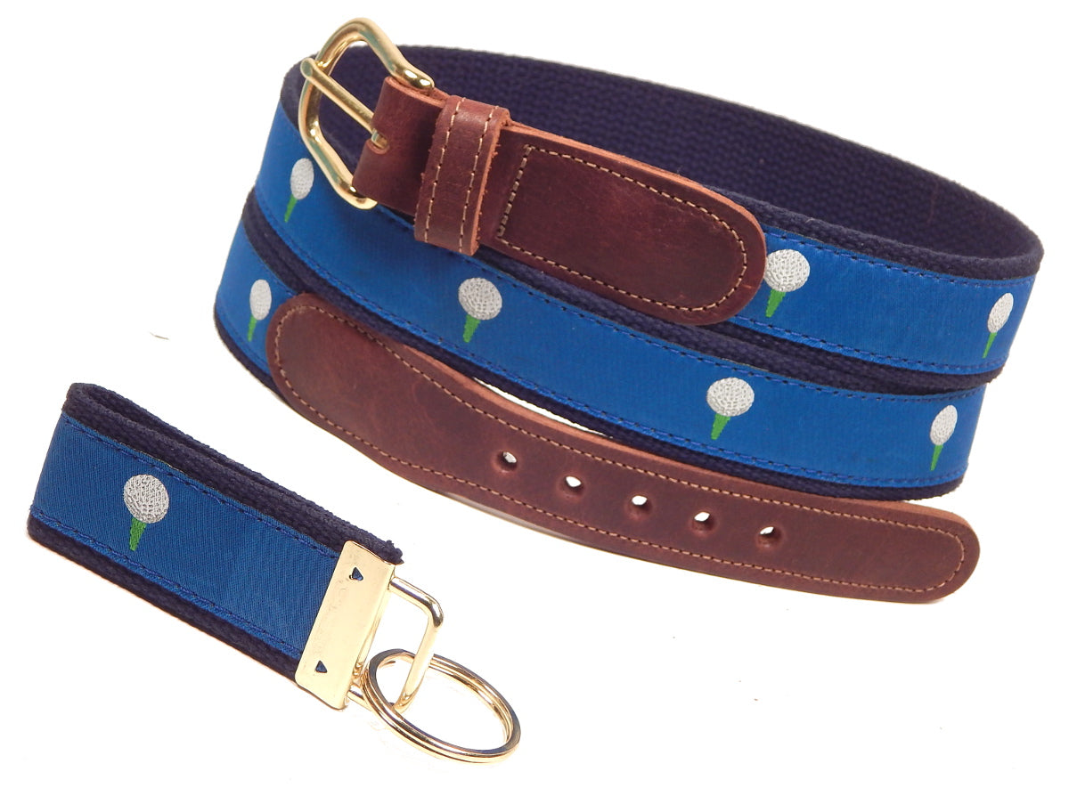 "Preston Leather ""Golf Ball on Blue"" Belt, Navy Web, FREE Matching Key Ring"