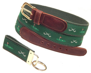 "Preston Leather ""Golf Clubs/18th Hole"" Belt, Forest Green Web, FREE Matching Key Ring"