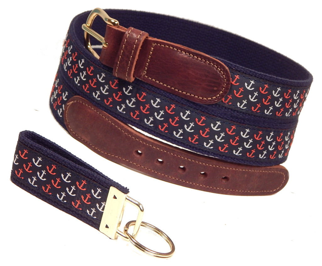 "Preston Leather ""Patriotic Anchors"" Belt, Navy Web, FREE Matching Key Ring"