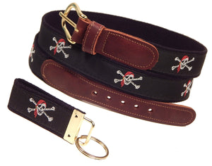 "Preston Leather ""Jolly Roger Pirate Skull & Crossbones"" Belt, Black Web, FREE Matching Key Ring"