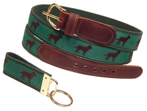 "Preston Leather ""Chocolate Dog"" Belt, Forest Green Web, FREE Matching Key Ring"