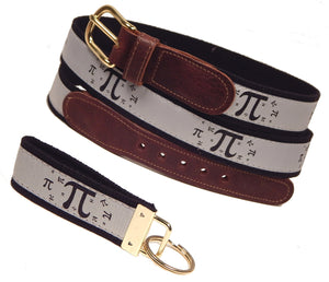 "Preston Leather, ""Pi Symbol"" Belt, Black Web, FREE Matching Key Ring"