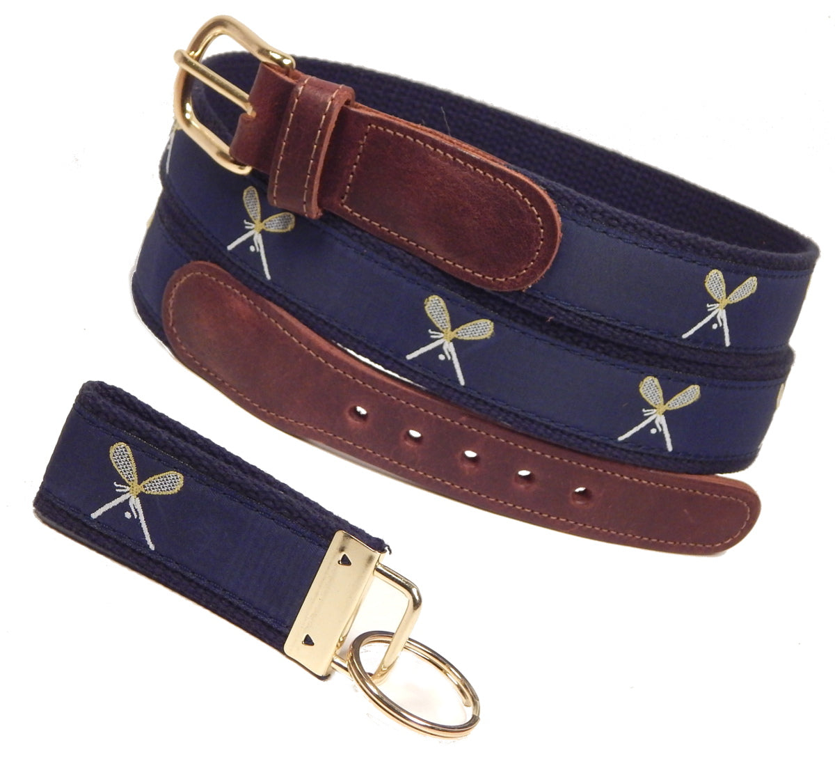 "Preston Leather ""Lacrosse"" Belt, Navy Web, FREE Matching Key Ring"