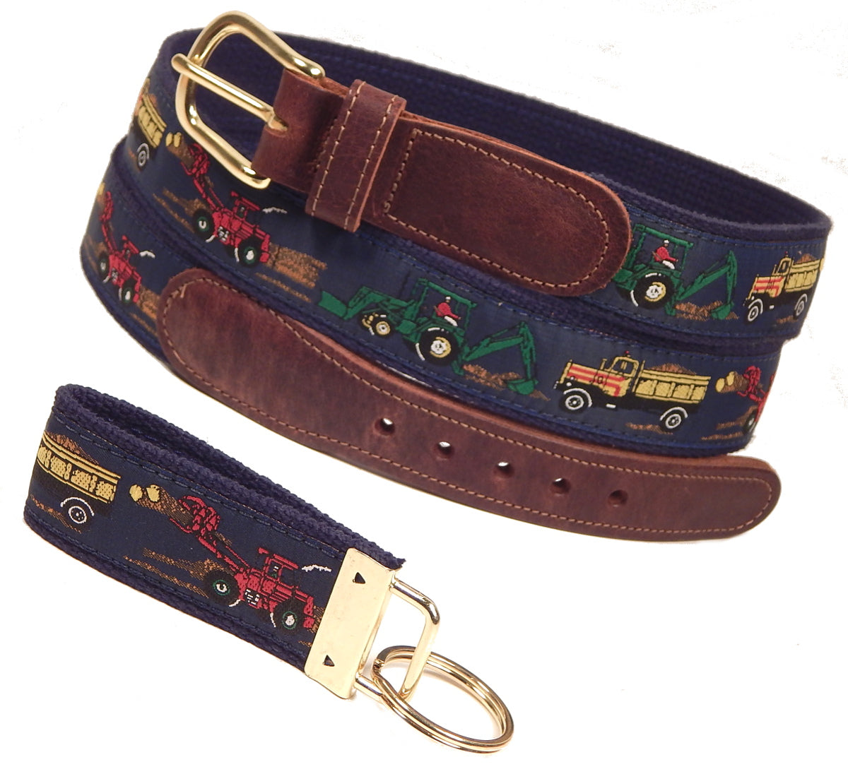 "Preston Leather ""Construction Vehicles"" Belt, Navy Web, FREE Matching Key Ring"