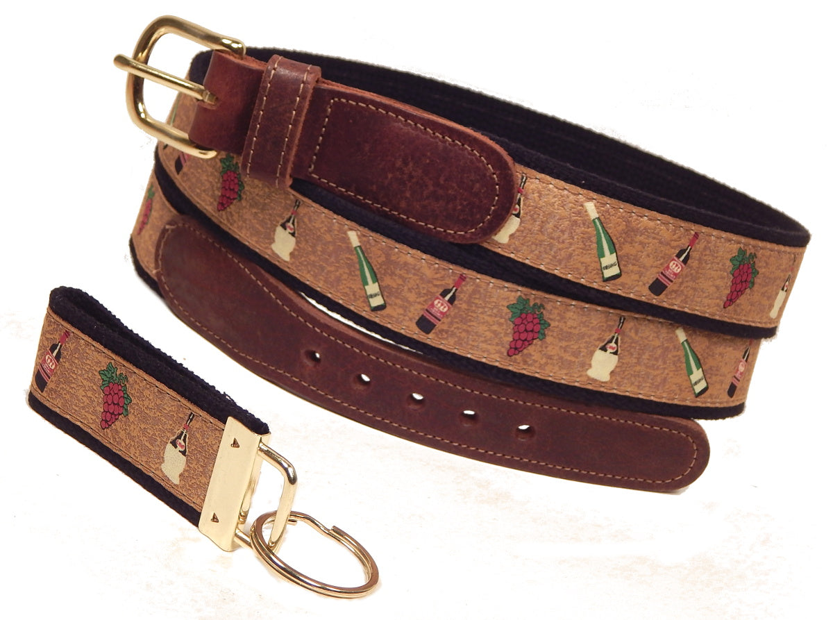 "Preston Leather ""Wine & Grapes"" Belt, Black Web, FREE Matching Key Ring"