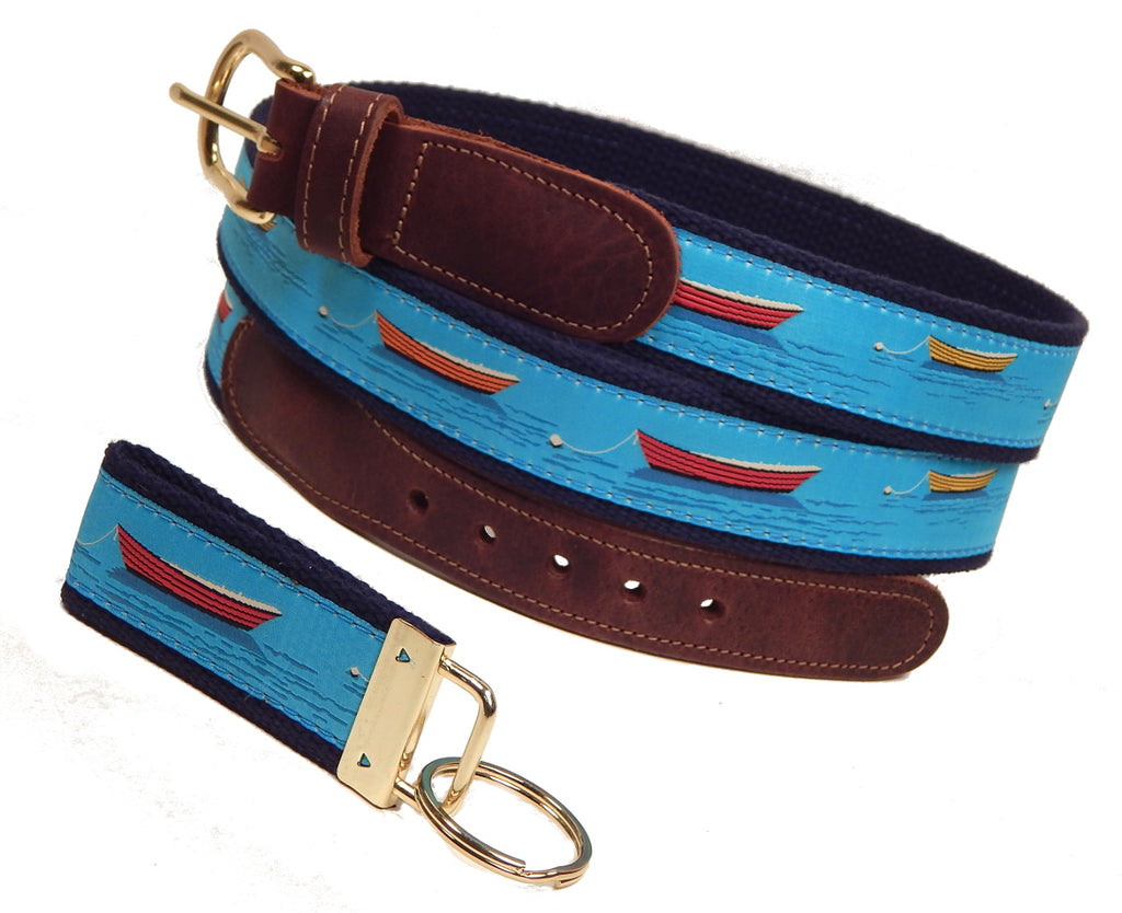 "Preston Leather ""Dories and Rowboats"" Belt, Navy Web, FREE Matching Key Ring"