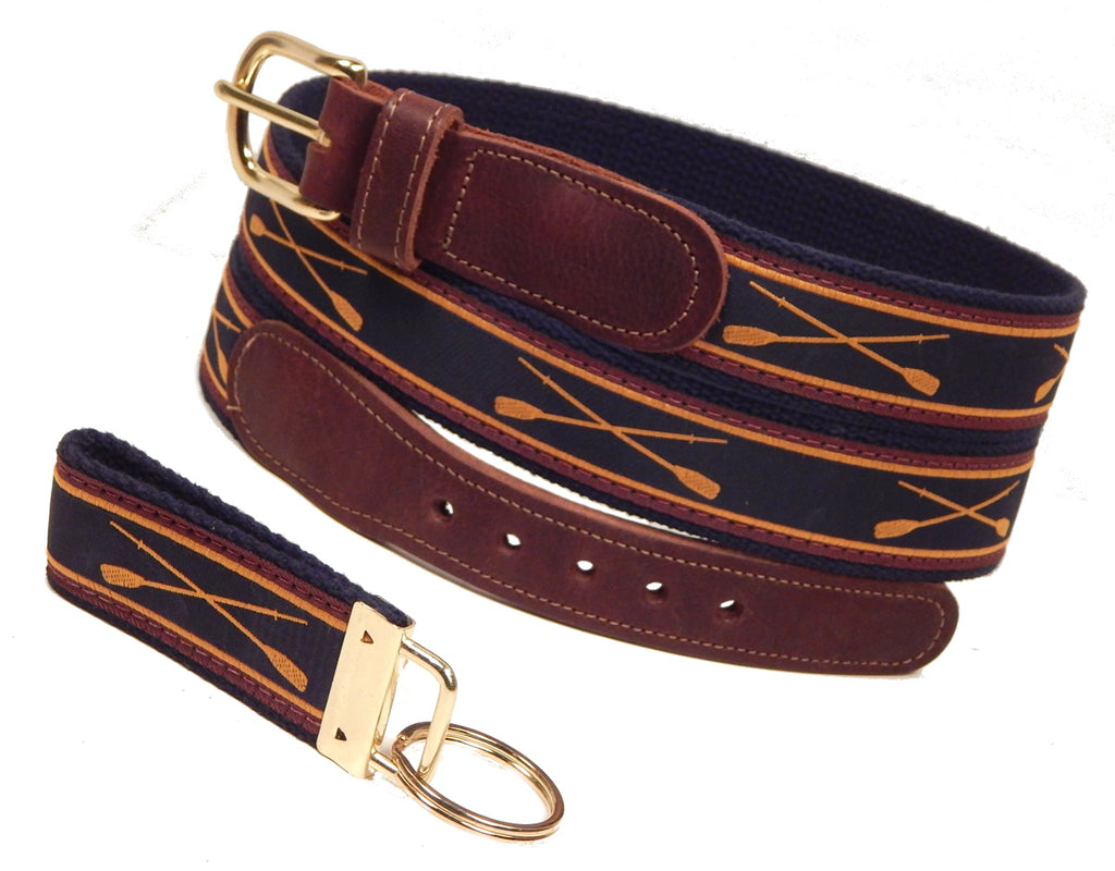 "Preston Leather ""Crossed Oars"" Belt, Navy Web, FREE Matching Key Ring"