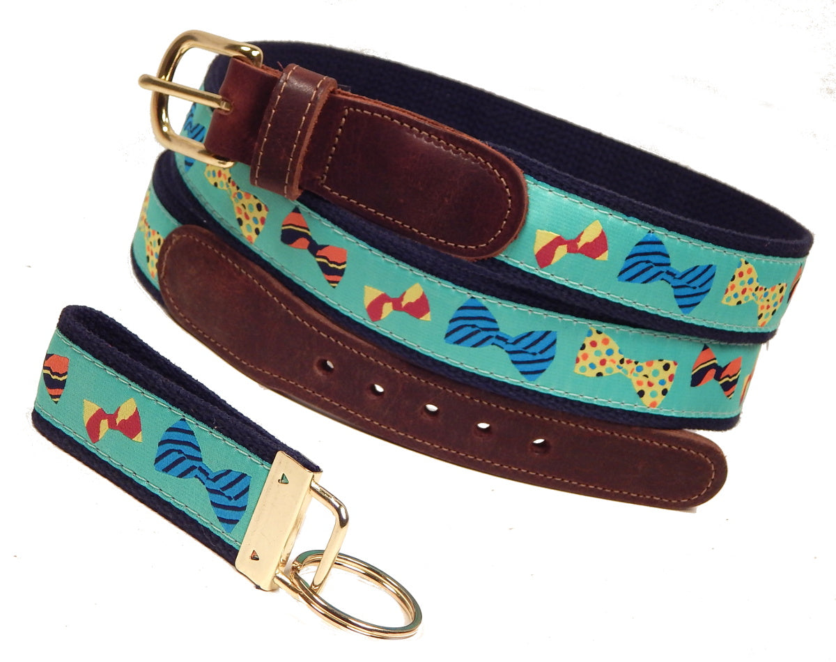 "Preston Leather ""Bow Ties"" Belt, Navy Web, FREE Matching Key Ring"